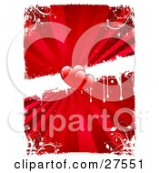 Clipart Illustration Of Two Red Hearts In The Center Of A Dripping White Strip Across A Bursting Red Background