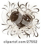 Clipart Illustration Of A Grunge Brown Silkscreen Heart Over A Dotted Background On White