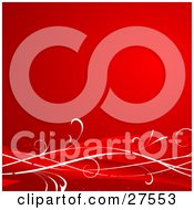 Clipart Illustration Of A Deep Gradient Red Background With White And Red Waves And Hearts Along The Bottom
