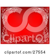 Clipart Illustration Of A Red Background Bordered With White Floral Flourishes And Two Hearts At The Bottom