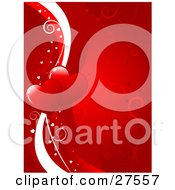 Clipart Illustration Of Two Hearts On White And Red Lines Bordered By Small White Hearts On A Red Background With Scrolls