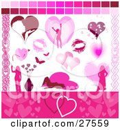 Clipart Illustration Of A Collection Of Romantic Web Design Elements Of A Woman Blowing A Kiss Lipstick Kisses Butterflies Flowers And Hearts