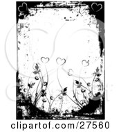 Clipart Illustration Of A White Background Bordered By Black Grunge Hearts And Plants