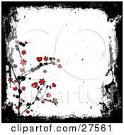 Clipart Illustration Of A Grunge White Background Bordered By Black With A Black Plant With Red Flowers And Hearts