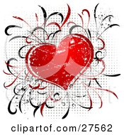Clipart Illustration Of A Red Grunge Textured Heart With Grasses Over A Gray Dotted Background On White