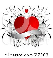 Clipart Illustration Of A Blank Silver Scroll Over A Red Heart With Vines Over A Grunge Gray Dotted Background by KJ Pargeter