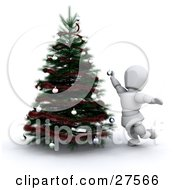 Clipart Illustration Of A White Character Reaching While Decorating A Christmas Tree With Ornaments