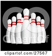 Clipart Illustration Of A Lineup Of Red And White Bowling Pins At The End Of An Alley Over Black