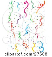 Background Of Colorful Green Blue Purple Pink Yellow And Orange Party Streamers And Confetti Over A White Background