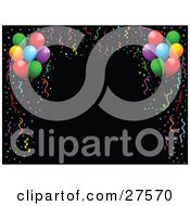 Clipart Illustration Of A Black Background Bordered By Colorful Party Streamers Confetti And Party Balloons