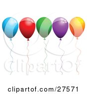 Clipart Illustration Of A Row Of Blue Red Green Purple And Orange Party Balloons With Matching Strings by KJ Pargeter