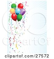 Clipart Illustration Of A Bursting White And Blue Background Bordered By Colorful Party Balloons Streamers And Confetti On The Left Side