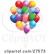 Bunch Of Red Purple Orange Blue And Green Party Balloons With Strings Floating In The Air