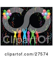 Clipart Illustration Of Silhouetted Colorful People Dancing Over A Black Background Bordered By Colorful Party Streamers Confetti And Party Balloons by KJ Pargeter #COLLC27574-0055