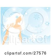Clipart Illustration Of A Beautiful White Haired Woman In A White Dress Wearing A Blue Flower In Her Hair And Standing Over A Blue Floral Background by KJ Pargeter