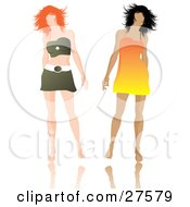 Clipart Illustration Of Two Fashionable Women In A Dress And Mini Skirt Walking Side By Side Over White by KJ Pargeter
