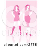 Clipart Illustration Of Two Pink Haired Faceless Women Posing In A Dress And Skirt Over A Pink Background by KJ Pargeter