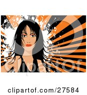 Clipart Illustration Of A Pretty Black Haired Woman In A Black Shirt Facing Front Over A White Grunge Splatter And Bursting Orange And Black Background by KJ Pargeter