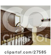 Clipart Illustration Of A Babys Nursery Room With A Teddy Bear Mobile Over The Crib Wood Flooring And Wood Furniture by KJ Pargeter