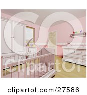 Clipart Illustration Of A Pink Baby Girls Nursery Room With A Teddy Bear Mobile Over The Crib Wood Flooring And Pink Furniture by KJ Pargeter