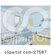 Clipart Illustration Of A Blue Baby Boys Nursery Room With A Teddy Bear Mobile Over The Crib Wood Flooring And Blue Furniture by KJ Pargeter