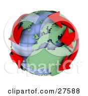 Clipart Illustration Of Red Arrows Circling Earth Symbolizing Pollution Economics Or Flight Plans