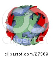 Clipart Illustration Of Red Arrows Circling The Blue Globe And Green Continents Of Earth Symbolizing Pollution Economics Or Flight Plans