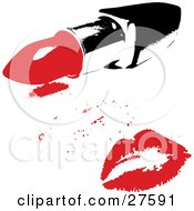 Clipart Illustration Of A Red Lipstick Kiss From A Woman On A White Background With A Tube Of Lipstick by KJ Pargeter