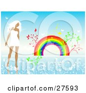 White Haired Woman In A White Dress Walking In A Blue Landscape Of White Flowers With Plants Sprouting From A Rainbow In The Background