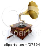 Clipart Illustration Of A Wooden Gramophone With A Handle And Golden Horn Playing Music From A Record by KJ Pargeter
