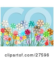 Clipart Illustration Of A Crowded Garden Of White Red Yellow Pink Brown Green And Purple Flowers Over A Blue Background by KJ Pargeter