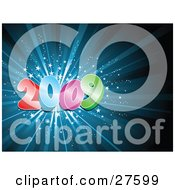 Clipart Illustration Of A Colorful New Year Numbers Of 2009 Over A Bursting Blue Background With White Stars by KJ Pargeter
