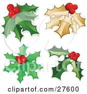 Clipart Illustration Of A Collection Of Holly Leaves And Berries Including Golden Holly