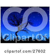 Clipart Illustration Of A Bare Tree And Grasses Silhouetted Against A Blue Night Sky With Glowing Stars
