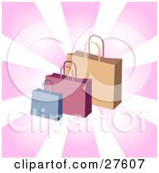 Clipart Illustration Of Blue Pink And Brown Handled Shopping Bags Over A Bursting Pink And White Background by KJ Pargeter