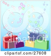 Clipart Illustration Of Red Purple Yellow Green And Blue Handled Shopping Bags Over A Gradient Blue Background With Bursts by KJ Pargeter