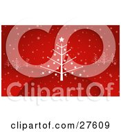 Clipart Illustration Of A Bare Leafless Christmas Tree With Stars On Top Of A Hill With Other Trees In The Distance And Snow Falling Down On A Red Background