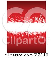 Clipart Illustration Of A Blank White Text Box Bordered With Snowflakes Stars And A Christmas Tree Over Red