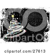 Clipart Illustration Of A Silver Spiral Christmas Tree Decked Out In Colorful Ornaments And A Yellow Star On A Black Grunge Background Bordered With White And A Scratched Texture