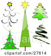 Clipart Illustration Of Sketched Simple Twirly Scribble And Drawn Christmas Trees