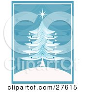 Clipart Illustration Of A Retro Christmas Tree With A Star On Top On A White Hill With A Blue Branch Patterned Background
