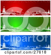 Collection Of Red Green And Blue Website Banners Or Gift Labels With White Christmas Trees And Snowflakes