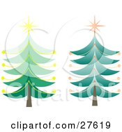 Clipart Illustration Of Two Tall Green Christmas Trees With Orange And Yellow Ornaments And Stars