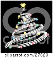 Clipart Illustration Of A Silver Spiral Christmas Tree Decked Out In Colorful Ornaments And A Yellow Star Over Black