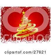 Clipart Illustration Of A Yellow Spiral Christmas Tree Decked Out In Red Ornaments And A Yellow Star Over A Red Background With A Snow Border
