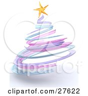 Clipart Illustration Of A Short And Thick Pastel Purple Blue And Pink Spiral Christmas Tree With A Yellow Star On Top