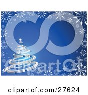 Clipart Illustration Of A Silver Spiral Christmas Tree Decked Out In Blue Ornaments And A Bright Star Over A Gradient Background Bordered With White Snowflakes