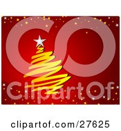 Clipart Illustration Of A Scribbled Yellow Christmas Tree With A White Star On Top Over A Gradient Red Background Bordered With White And Yellow Stars