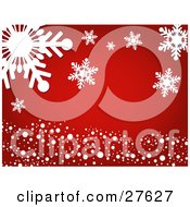 Clipart Illustration Of A Red Background With Round Snow And Giant White Snowflakes