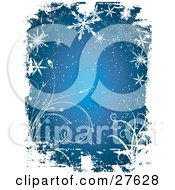 Clipart Illustration Of A Blue Background With Ripped Taped Grunge Textures White Vines Snow And Snowflakes